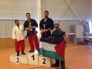 البطل الفلسطيني ربيع المصري يحصل على المرتبة الثانية في لعبة  nunchaku jujitsu